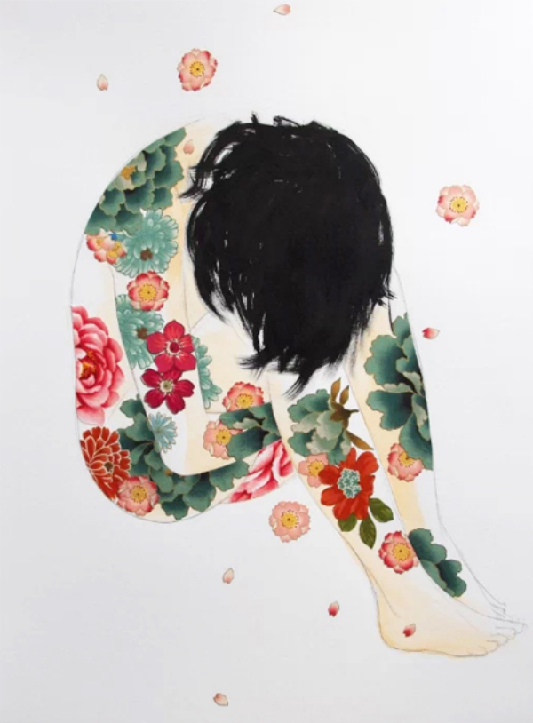 Daydream-In-Color-Wish-I-Was-Wed-Stasia-Burrington-Green-Pink-Floral-Tattoos