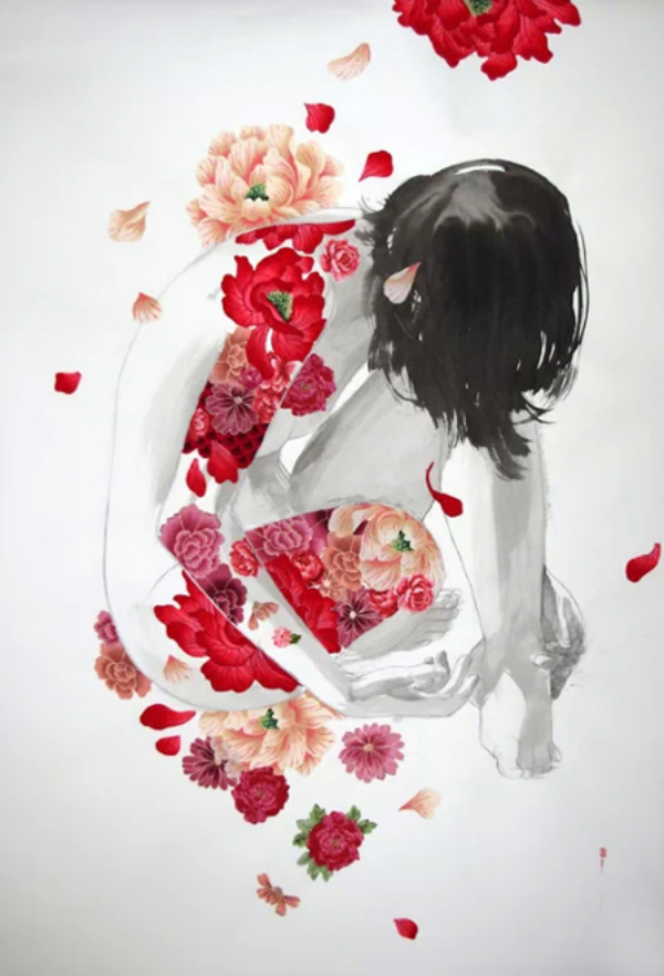 Daydream-In-Color-Wish-I-Was-Wed-Stasia-Burrington-Pink-Red-Floral-Tattoos