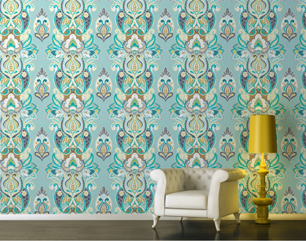 Daydream-In-Color-Lust-List-Wallpapered-Yuyu-Indulgence-Turqoise